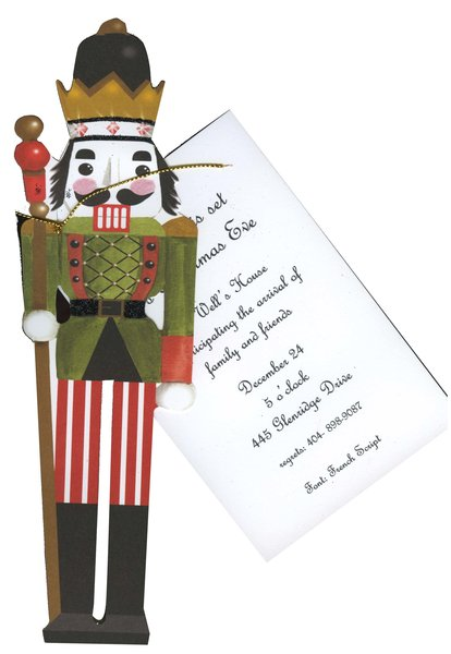 A unique die-cut invitation that is designed as a holiday nutcracker with a gold and black colored top hat and a traditional uniform.  Tied to a white 3.5 x 5 invitation card with a gold cord.  Perfect for an holiday celebration.  Includes white envelope.  Glitter upgrade option available.  assembly required.