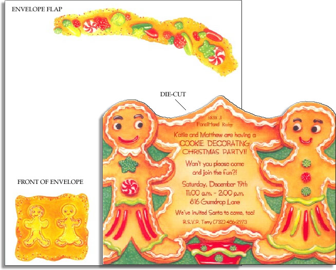 Gingerbread Cookies Die-Cut - Make an impression with our die-cut top invitations, includes coordinating envelope shown.  Inkjet/laser compatible and available blank or personalized.