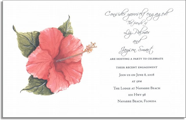 Tropical Hibiscus - An elegant card with a delicate tropical flair.  This invitation is decorated with a single pink hibiscus.  It is perfect for a formal event like a wedding or bridal shower.Glitter Embellished!  80# designer IVORY cardstock  includes CLEAR/WHITE GLITTER that you attach to card with glue pen provided. Available blank or personalized and easy to print on your printer.  Envelopes included.