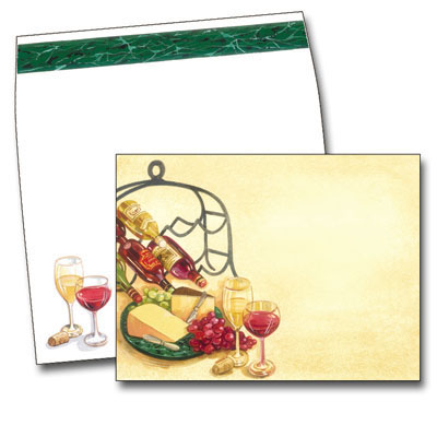 Tuscany Evening - This elegant design features two wine glasses next to a plate of grapes and cheese.  There is a wine rack nearby and the richly colored background adds a sophisticated feel.  Perfect for a wine tasting or cocktail party.  Our premium quality cardstock is easy to print on your inkjet/laser printer or we can personalize them for you.  The designer coordinating envelopes are included.