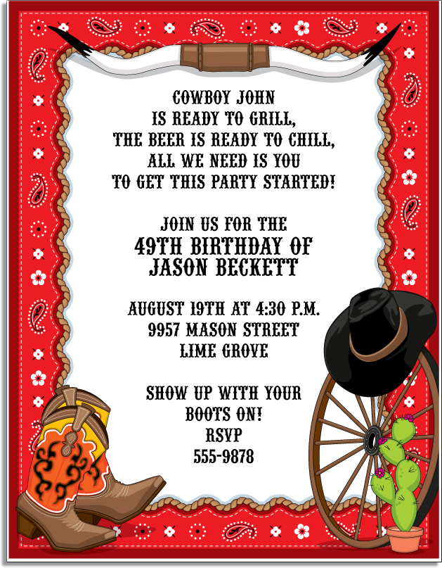 Hook em Invitation - Come on out West! Celebrate your occasion with cowboy boots, a cowboy hat, wagon wheels, ropes, bandanas, cacti and steer horns.  What better way to capture the feel of the Old West than with this Western themed invitation. Includes a white envelope.  Available personalized only.