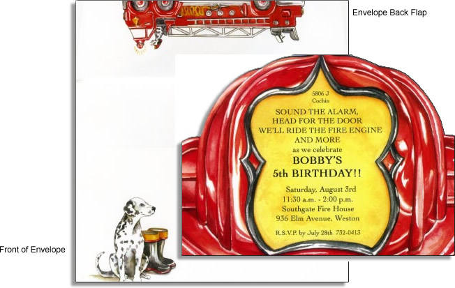 Fireman Hat - What a fun start to your little ones special day!  A bright red firemans helmet has a large golden center for your personalization.   Great for a birthday party or day at the firehouse!  Available blank or personalized.  Coordinating envelopes are included.