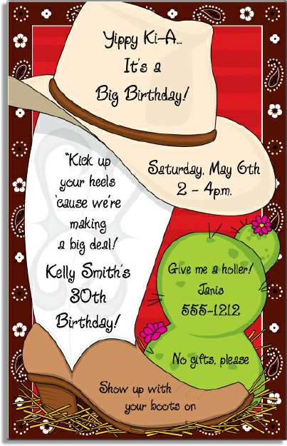 Country & Western Digital Invitation - If you looking for a great western themed invitation this is it!  Our best selling western invitation!  Digitally printed for bright, crisp colors on premium quality cardstock.  Designed with a cowboy boot sitting beside a cactus and a cowboy hat on top.  A fun bandana style border completes the picture!  Available personalized only. Includes white envelope.