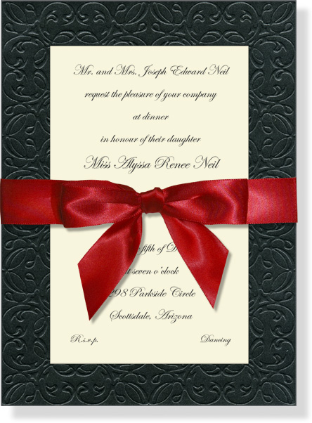 """Quick View - LEO-109B114 - """"Antique Border Black & Ribbon With Red Ribbon"""""""