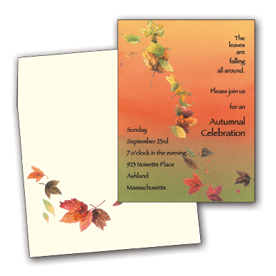 Falling Leaves - Colorful and fun premium quality 80# cardstock INCLUDES ENVELOPE WITH COORDINATING DESIGN!Easy to print on your inkjet/laser printer (ORDER BLANK), or we can print for you (ORDER PERSONALIZED).DON`T FORGET OUR COORDINATING DESIGNER LASER PAPER.