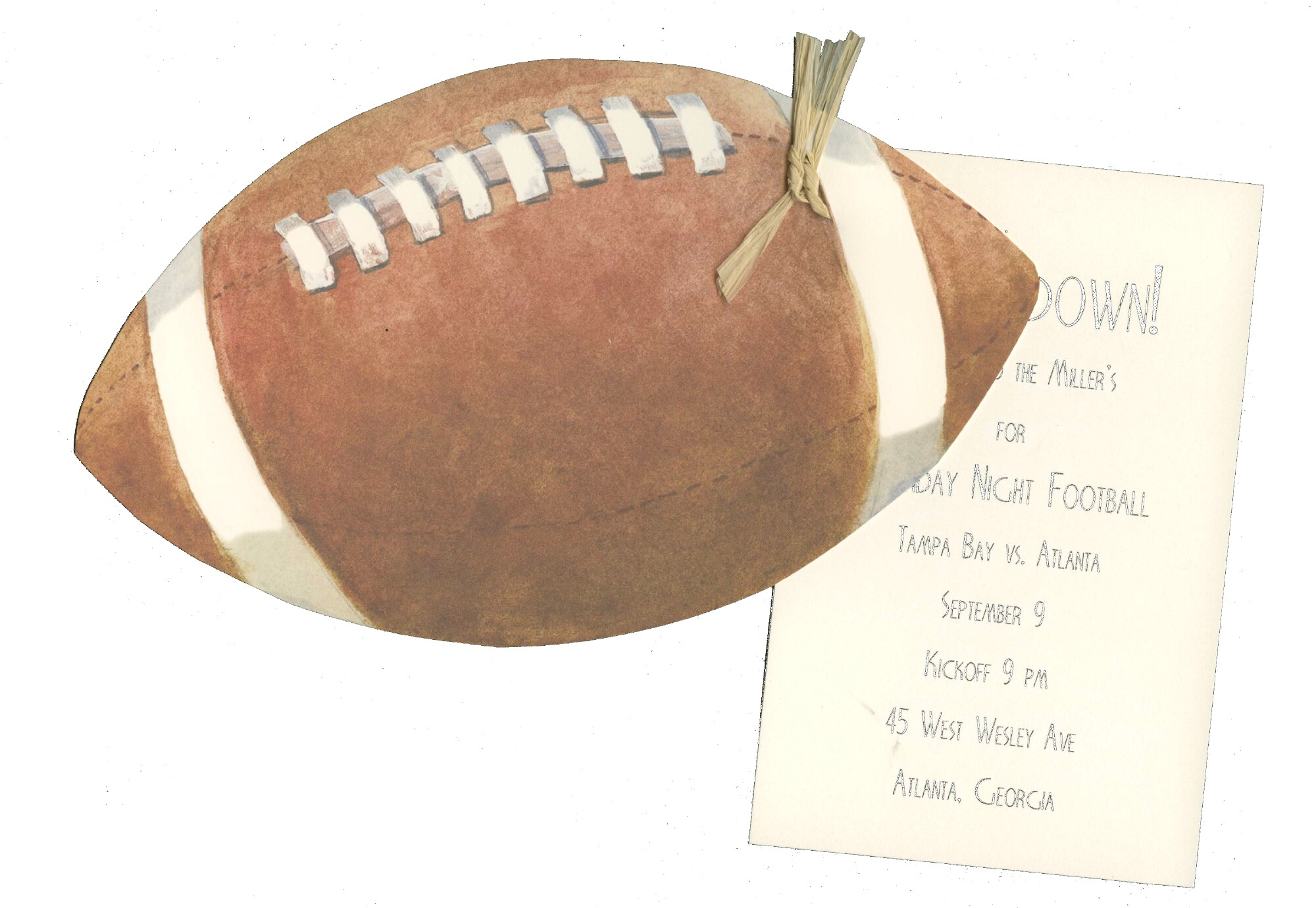"Football Die-Cut - This fun die-cut football invitation attaches to white imprintable 3.5"" X 5"" card with rafia (included).  Printed only on 80# designer cardstock, card is easy print on your printer or we can print them for you.  Includes white envelopes.  IF YOU NEED US TO ASSEMBLE THE TAG TO THE DIE-CUT CARD, THERE IS AN ADDITIONAL CHARGE OF $.50 PER CARD.  Please make a note in the comments section if you would like us to assemble them."