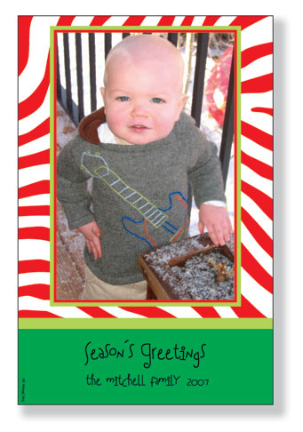 "Merry Zebra Photocard - Sale - Only 78 Left!Holiday photo cards accommodate 4""x6"" or 3.5""x5"" vertical photos. Available either blank or personalized. White envelopes are included. PLEASE NOTE, THIS IS A FLAT CARD THAT DOES NOT OPEN AND HAS LIMITED SPACE FOR GREETING AND PERSONALIZATION."
