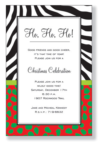Wild Holidays Invitation - A trendy and colorful design printed only on premium quality 80 lb. card stock. Available either blank or personalized. Includes white envelope.