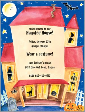 Halloween Haunted House - A Halloween party in full swing, this invitation is decorated with a haunted house. Through the windows you can see a witch, skeleton, black cat, and ghost! This uniquely cororful card is premium quality white cardstock and includes an ivoryenvelope.  Inkjet/laser compatible and available blank or personalized.
