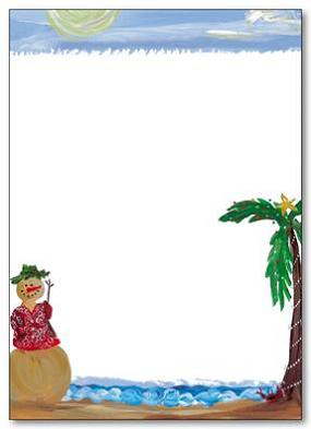 "Tropical Snowman Letter Paper - SPECIALTY SIZE FITS NICELY INTO COORDINATING PHOTO CARD!  Laser/Inket compatible letter sheets are SPECIALTY SIZE 7.5"" X 11"" and fold in half to fit perfectly inside our photo cards.  Coordinating envelopes are not available at this time."