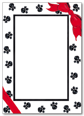 "Christmas Paws Letter Paper - SPECIALTY SIZE FITS NICELY INTO COORDINATING PHOTO CARD!  Laser/Inket compatible letter sheets are SPECIALTY SIZE 7.5"" X 11"" and fold in half to fit perfectly inside our photo cards.  Coordinating envelopes are not available at this time."
