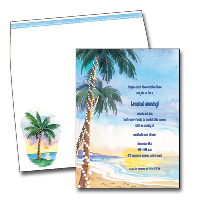 Tropical Sunset - Make an impression with these beautiful invitation/announcement cards. Premium quality cardstock is inkjet/laser compatible and available blank or personalized. Coordinating envelope included.