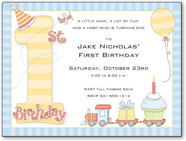 "1st Birthday Party Boy - This first birthday card is as cute as your little one!  It has the words ""1st Birthday"" designed with a party hat and balloon, a toy airplane, and a toy train bearing a present and cupcake with one candle.  It is colored in blues, reds, and yellows for little boys. Colorful and fun! Premium quality cardstock is inkjet/laser compatible and available blank or personalized.  Includes white envelope."