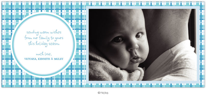 "Draper Plaid Blue Photo - Announce your babys arrival with our modern and stylish FLAT-SINGLE SIDED photo cards printed with your greeting (PERSONALIZED) or available for you to print (BLANK).Attach your babys 4"" x 6"" horizontal or vertical photo with photo tape provided. Includes white envelope.  Does NOT require extra postage."
