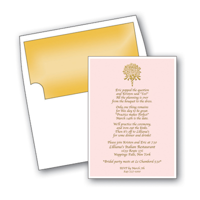 Golden Bouquet - Limited Quantity AvailableThis beautiful design features a golden bouquet of flowers against a soft pink background.  Ideal for a bridal shower or bridesmaids luncheon!  Available blank or personalized.  White envelopes are included.