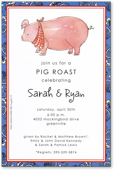 Pink Pig - Get ready for a pig roast! This way cute card shows a plump pig wearing a checkered bandana.  The border is a blue print with inner red stripes. Its great for your summer barbeques and picnics! A trendy and colorful design printed only on premium fine quality 80 lb. card stock. Easy to print on your inkjet/laser printer (blank)...or we can print for you (personalized). Includes white envelope.