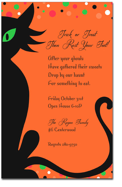 Halloween Cat - Mysterious black cat with bright green eye showing along with colorful polka dots on the top of the card with a festive orange background. Makes for a great Halloween invitations.  Printed on 80 lb. card stock. Available either blank or personalized. Includes white envelope.