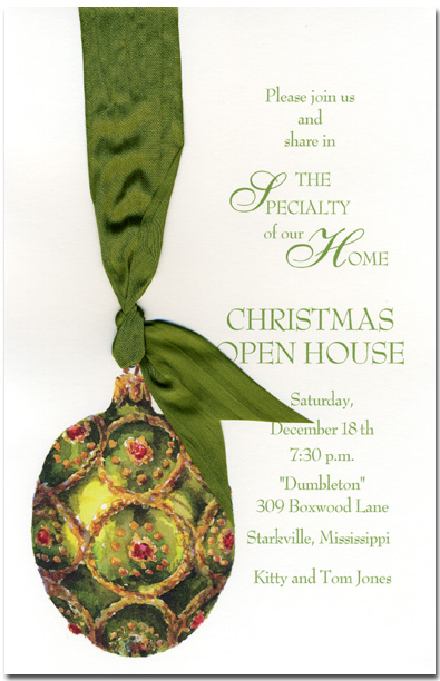 Moss Ornament  - Elegant and Simple cardstock can be printed on your inkjet/laser printer, by your local print shop or we can print them for you. If ordering blank assembly is required after printing, or if personalized here, we can assemble them for you (.50 cents per card)  Includes envelopes.