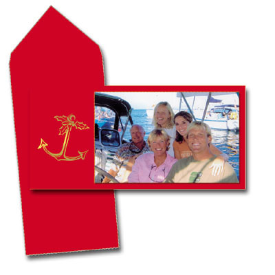 Anchor Photo Card  - ON SALE!! This elegant photo card is printed on rich red cardstock with a gold foiled anchor on the left side.  Your personalization can include your family name or a small verse.  Photo space size is 4x6 and your photo easily attaches to card. Comes with red envelope.