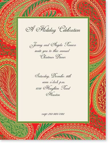 "Holiday Paisley Designer Paper - Out of Stock for 2012 SeasonMake an impression with our premium quality colorful designer 8 ½"" x 11"" laser/inkjet paper which is easy to print on your printer!A wide selection of solid color envelopes are also available to coordinate with all paper styles.  ENVELOPES ARE SOLD SEPARATELY."