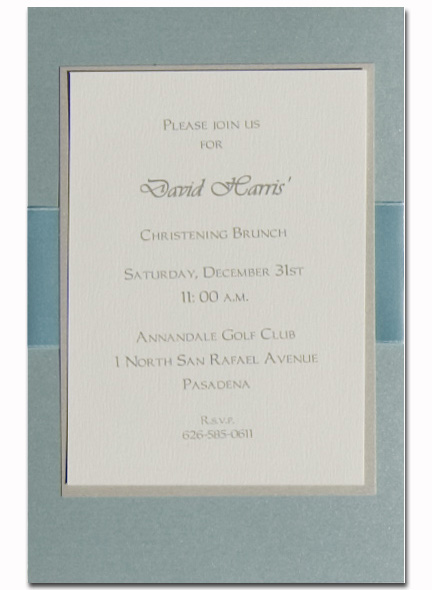 Pale Blue with Blue Ribbon and Ecru Layer - The Elegant invitation with an Blue ribbon. Comes with an ivory envelope.  Inside card is a heavy ecru paper that can easily be printed by a laser printer or we can print it for you.  Assembly is required or If you have us print for you, we can also assemble it for you ($1.00 per card for assembly) If you would like assembly please note in the comments.
