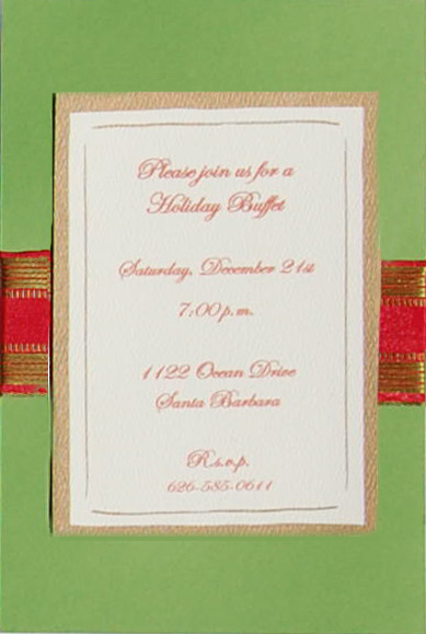 Green Card with Red and Gold Ribbon-Layered card - The Elegant invitation with an Red and Gold ribbon. Comes with an ivory envelope.  Inside card is a heavy ecru paper that can easily be printed by a laser printer or we can print it for you.  Assembly is required or If you have us print for you, we can also assemble it for you ($1.00 per card for assembly) If you would like assembly please note in the comments.