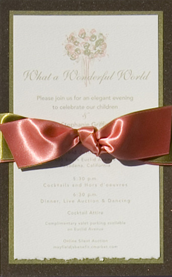 Chocolate And Sage Border w/ Sager And Coral Ribbon - The Elegant green and Chocolate Designer invitation with an Green and coralribbon. Comes with an ivory envelope.  Inside card is a heavy ecru paper that can easily be printed by a laser printer or we can print it for you.  Assembly is required or If you have us print for you, we can also assemble it for you ($1.00 per card for assembly) If you would like assembly please note in the comments.
