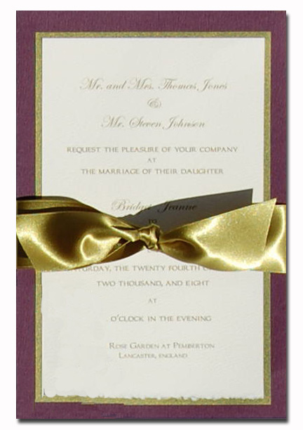 Elegent Plum and Gold Border with Green Ribbon - The Elegant Plum and Gold Designer invitation with an Green and coral ribbon. Comes with an ivory envelope.  Inside card is a heavy ecru paper that can easily be printed by a laser printer or we can print it for you.  Assembly is required or If you have us print for you, we can also assemble it for you ($1.00 per card for assembly) If you would like assembly please note in the comments.