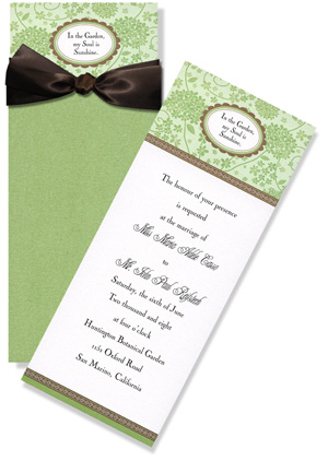 "Green and White Elegence Tall Pocket - Elegant long invitation with sparkling pocket and satin ribbon creates a lasting memory. Beautifully paired with a sparkling crystal envelope to complete the ensemble. 4.5"" x 11"", 100# cover, Sparkle! Assembly is required.  If you would like us to assemble your personalized order please make note in the comment section.  ( $.50 per card for assembly)"