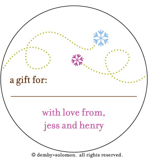 Snow Flying personalized Gift Sticker - And Some Style to your gift tags!  These fun and festive gift stickers come personalized with your name and make a great added touch to the gifts you gift. Also can be for the yearly christmas letters!