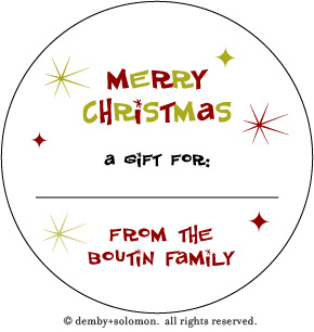 Retro Christmas personalized Gift Sticker - And Some Style to your ...