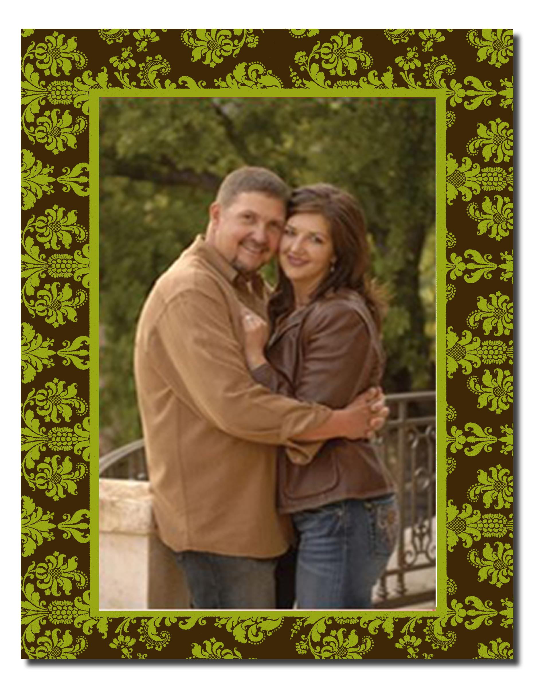 "Damask Green /Brown Photo Cards -  ON SALE!  70 AVAILABLE! This traditional foldover greeting card is a beautiful way to send your photo to friends and fmaily this season!  Attach your photo to max size 4"" x 6"" to front of photo card. Card is blank inside for imprinting of any personalized text you specify.Card includes white envelope.If ordering personalized, be sure to specify whether your photo is HORIZONTAL OR VERTICAL in the comment section of the order form."