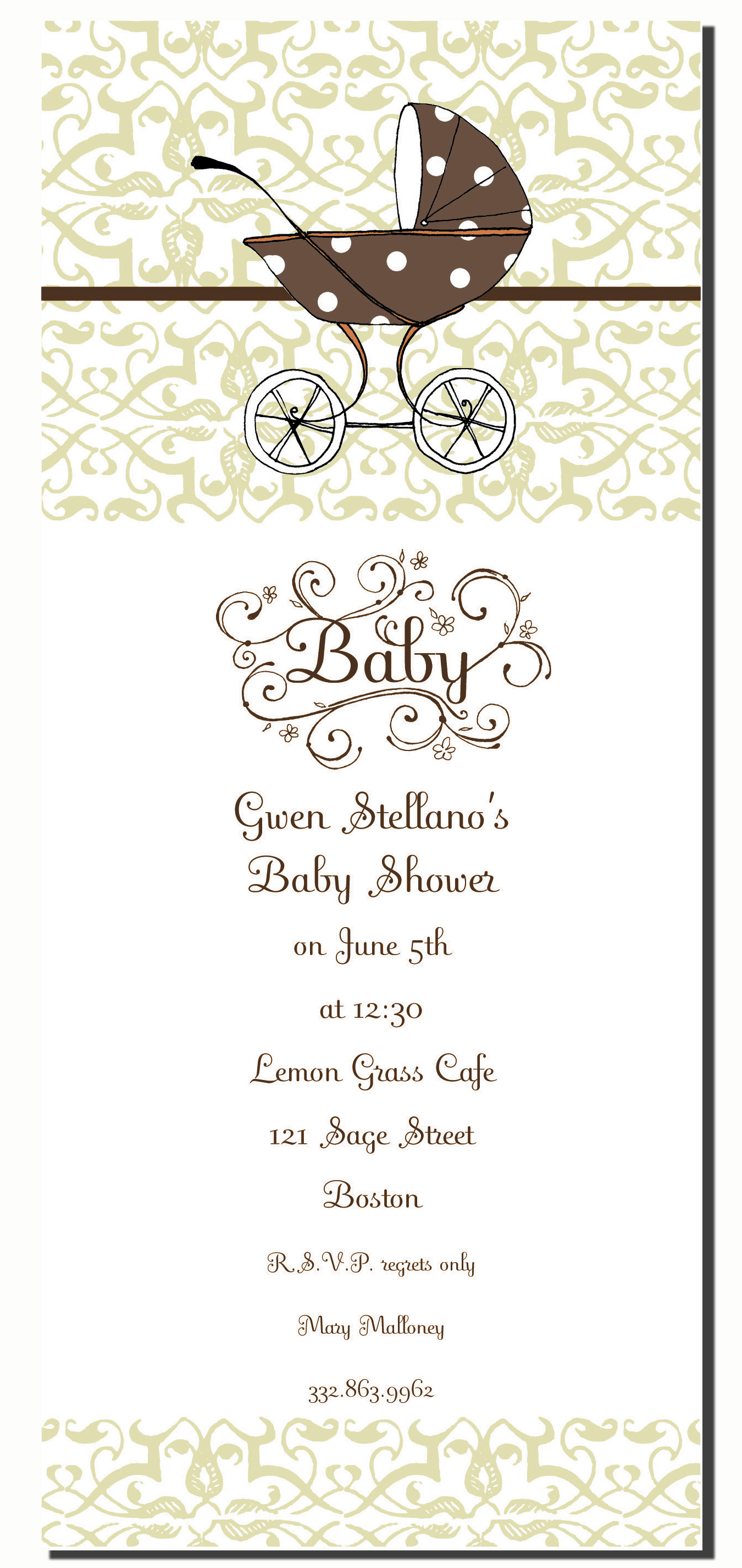 "Apples Cart - Great Baby shower design! This slim invitation has beautiful light green damask designs along the top and bottom of the invitation and a fun polka dot chocolate colored baby carriage on the top center of the invitation.  This fun 4x9.25 invitation comes  blank or let us print them for you. . ""BABY"" along with design is pre-printed on invitation. Includes color coordinating envelopes."