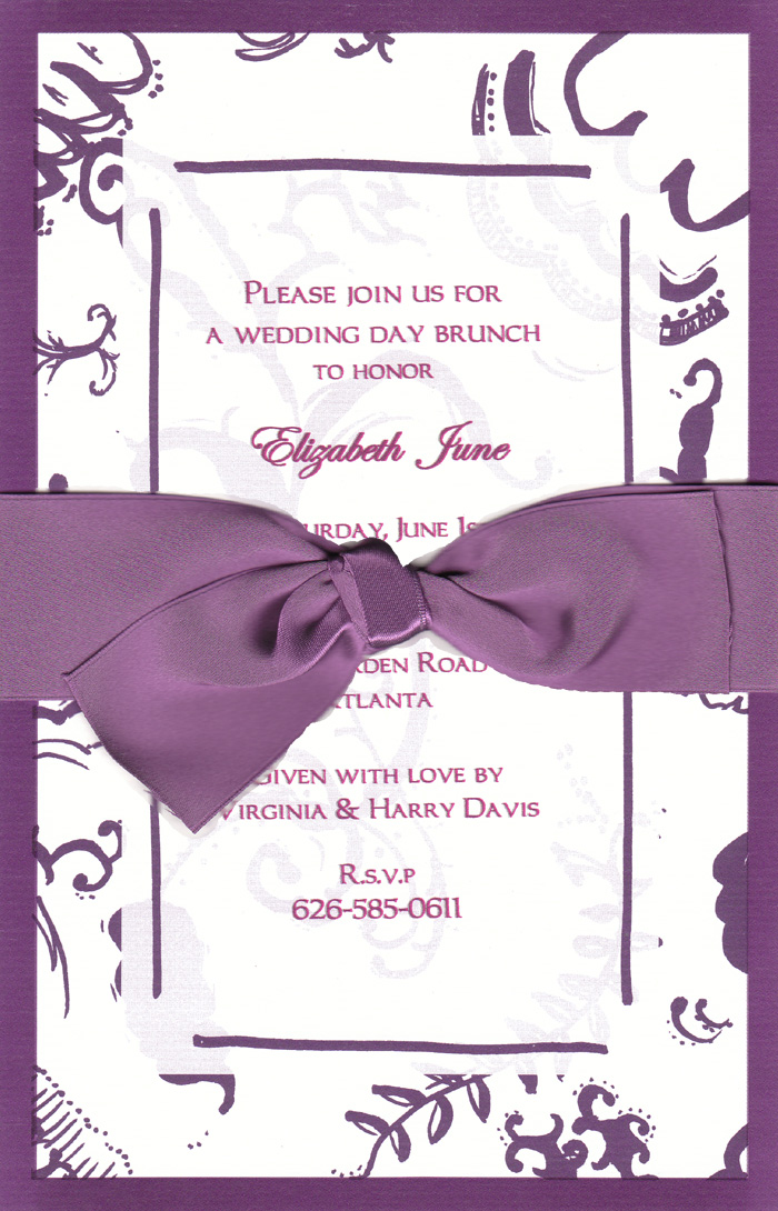 Purple Pattern w/ Violet Border & Ribbon - The Elegant invitation with an violet ribbon. Comes with an white envelope.  Inside card is a heavy ecru paper that can easily be printed by a laser printer or we can print it for you.  Assembly is required or If you have us print for you, we can also assemble it for you ($1.00 per card for assembly) If you would like assembly please note in the comments.