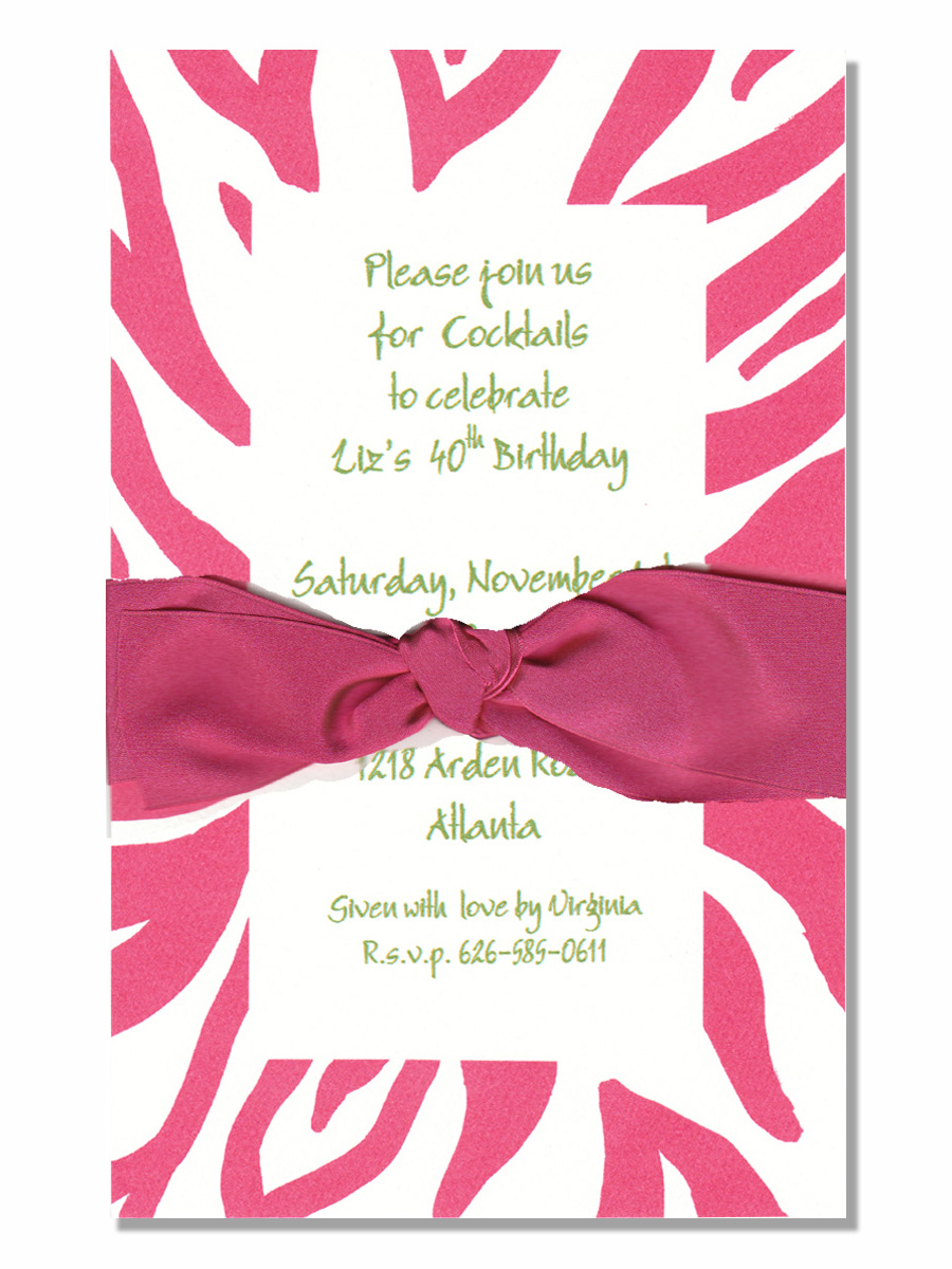 Hot Pink animal print w/ pink ribbon - The Elegant invitation with an Hot pink  ribbon. Comes with an white envelope.  Inside card is a heavy ecru paper that can easily be printed by a laser printer or we can print it for you.  Assembly is required or If you have us print for you, we can also assemble it for you ($1.00 per card for assembly) If you would like assembly please note in the comments.