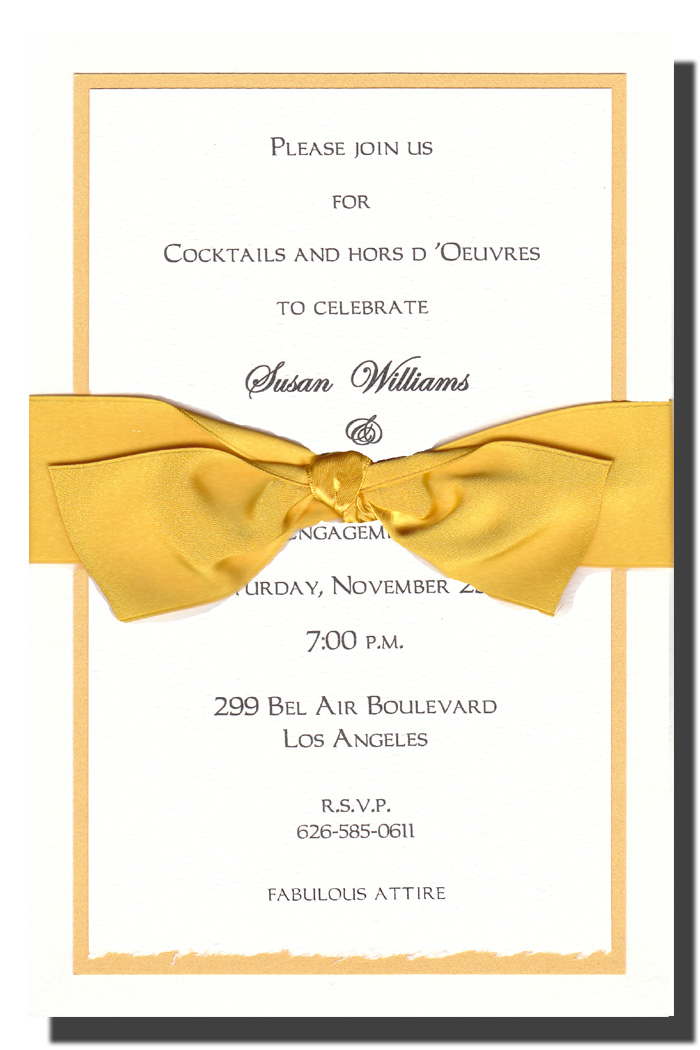 Yellow Ribbon on White Layered  - This elegant metallic yellow and white multi-layered invitation is topped off with a cheerful yellow ribbon.  White envelopes are included. The inside card is a heavy ecru paper that can easily be printed by a laser printer or we can print it for you.  Assembly is required or we can assemble personalized orders for you at a cost of $1.00 per card. If you would like assembly please note in the comments.