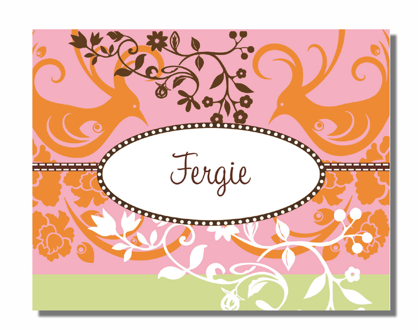 "Fergie Note Card  - Stylish fold over note card!  This item comes blank or personalized with one line of text, such as name or ""thank you"" on the front. Includes color coordinating envelope."