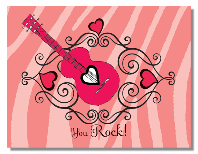 "You Rock Note Card - Classy fold over note card comes with or without glitter.  This item comes blank or personalized with one line of text, such as name or ""thank you"" on the front. comes withcolor coordinating envelope."
