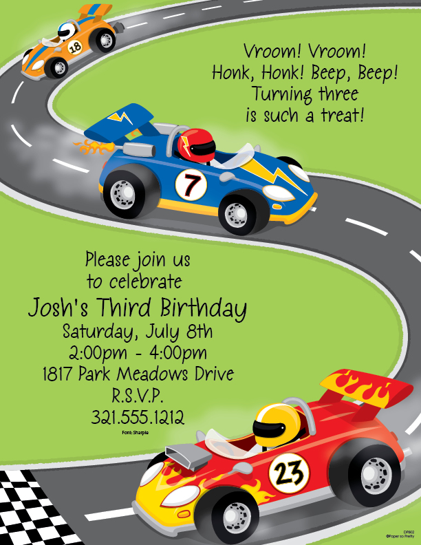 Sporty Cars Laser Paper - Vrooooom! if you are looking for a great go-cart racing stationery or race car paper this is it.  perfect for a little guys birthday party!  A fun way to announce your up coming party. colored envelopes are available but are sold seperately.