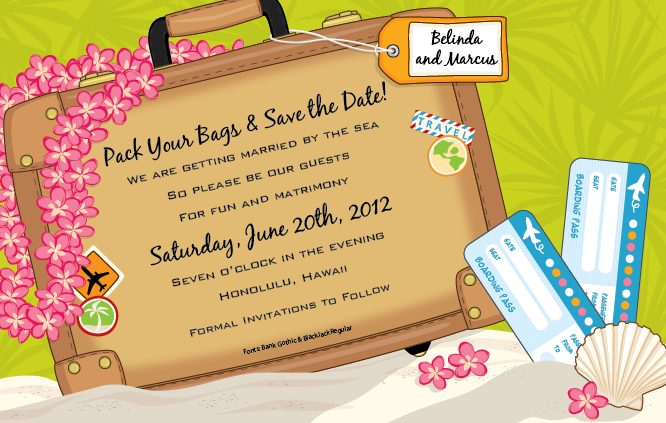 Suitcase Digital Invitation - This fun and colorful invitation shows a large tan suitcase with a tropical pink lei hanging on one side and two airline tickets on the other side.  Digitally printed for bright, crisp color on premium quality cardstock.   Available personalized only.  Includes white envelope.