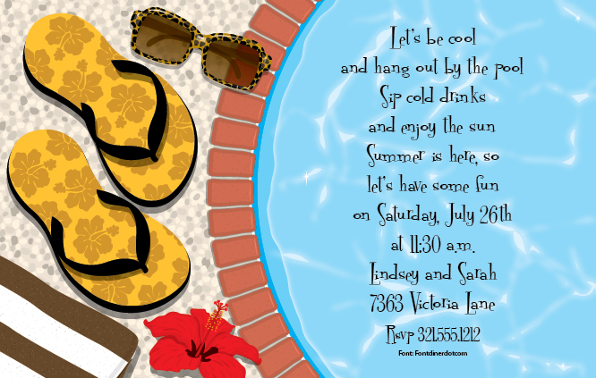 Invitations tropical pool luau beach pool summer flip invitations tropical pool luau beach pool summer flip flops invitation cardstock flipped out digital invitation filmwisefo