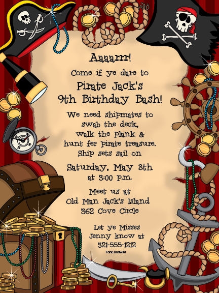Treasure Digital Invitation - Arrrgh! Its time for a pirates party ...