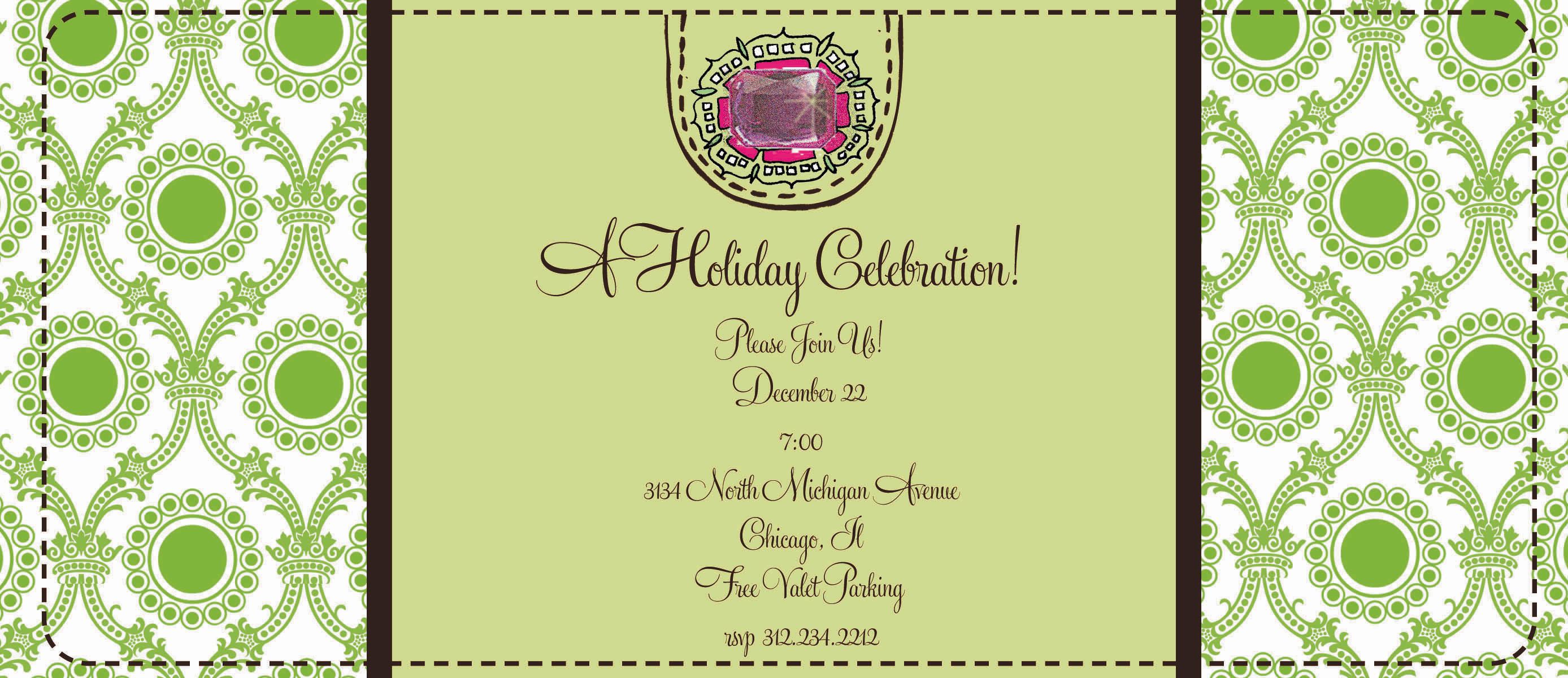Holly  - This fun 4x9.25 invitation comes  blank or let us print them for you.   Cards come with optional embellishment. Please indicate in order if you would like rhinestones added.