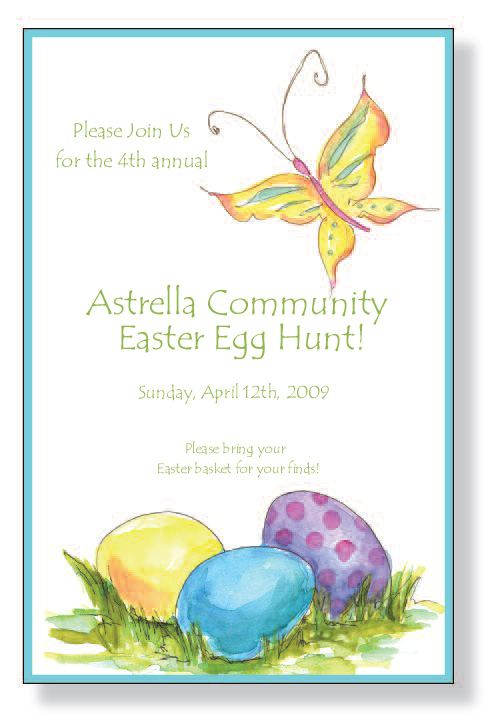 Garden Eggs  - Easter time is here!  Join the bunnies and hares in searching for brightly colored eggs!  This invitation is decorated with a hand painted appearance of colorful Easter eggs hidden in the grass.  A beautiful butterfly is fluttering by at the top.  A precious choice for your annual Easter Egg Hunt!A trendy and colorful design printed only on premium fine quality 80 lb. card stock. Available either blank or personalized. Includes white envelope.