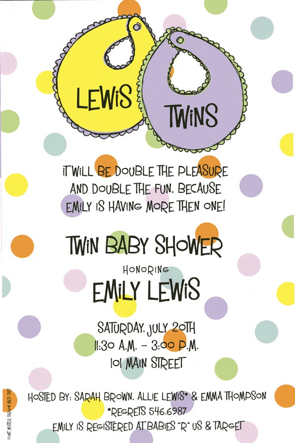 Twin Bibs - A trendy and colorful design printed only on premium fine quality 80 lb. card stock. Available either blank or personalized. Includes white envelope.