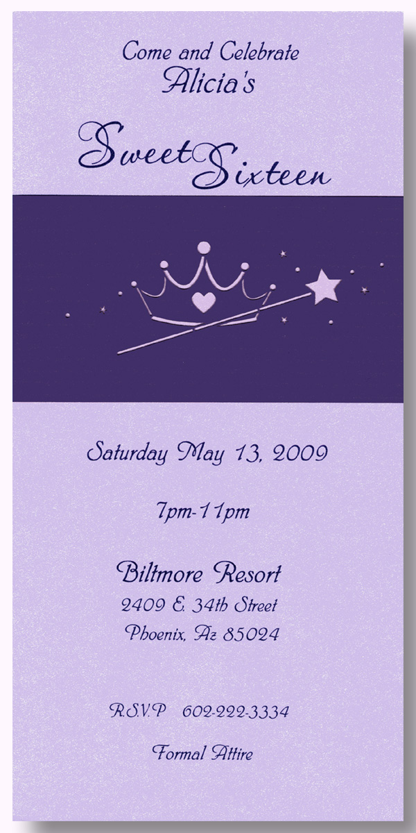 Princess Tea Length Invitation With Wrap - ON SALE! This beautiful shimmering lavende tea-length invitation is printed on heavy 90# card stock.  Each invitation includes a purple wrap-around that features a laser-cut tiara and wand design. Comes with a white envelope. Perfect for a Sweet 16 or any party that your princess might have!