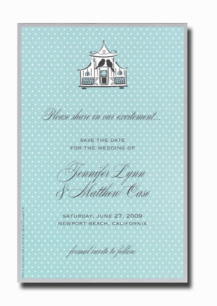 Birdcage - This invitation is part of the fabulous Mindy Weiss collection, recently featured in InStyle Magazine!  A trendy design printed only on premium fine quality 80 lb. card stock. Available either blank or personalized. Includes white envelope.