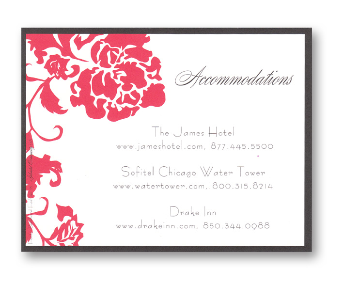 French Peony Red Reply Card - This invitation is part of the fabulous Mindy Weiss collection, recently featured in InStyle Magazine!  A trendy design printed only on premium fine quality 80 lb. card stock. Available either blank or personalized. Includes white envelope.