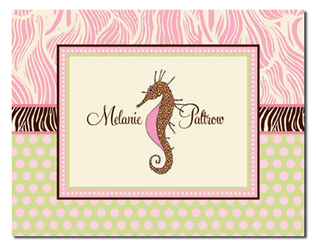 "Seahorse Note Card  - This stylish fold-over note card is available with one line of text, such as name or ""thank you"" on the front.  Includes coordinating envelope."