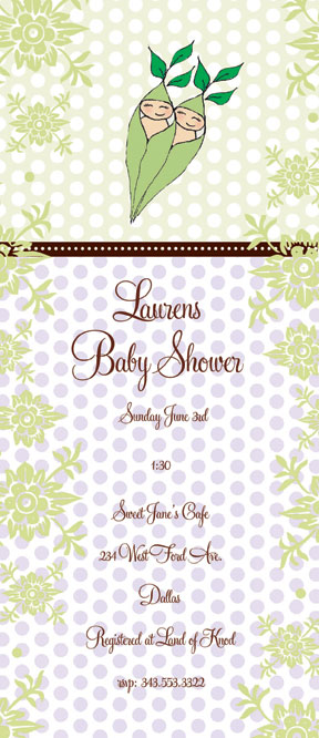 Two Peas  - ON SALE!  20 AVAILABLE! This fun 4x9.25 invitation comes  blank or let us print them for you!  Great for a twins baby shower. Comes with coordinating envelope.